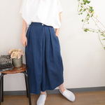 linen gaucho pants_blue