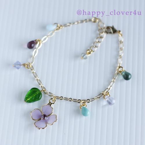 雨の日の紫陽花ブレスレット/br72