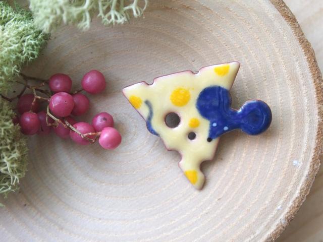 ねずみとチーズ ブローチ(三角)