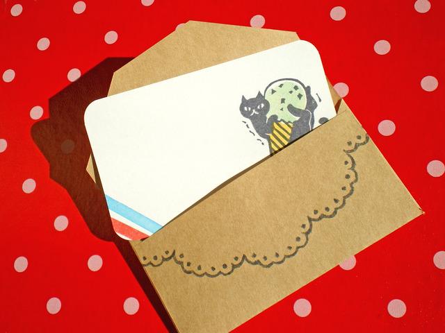 スイーツ×黒猫のメッセージカード