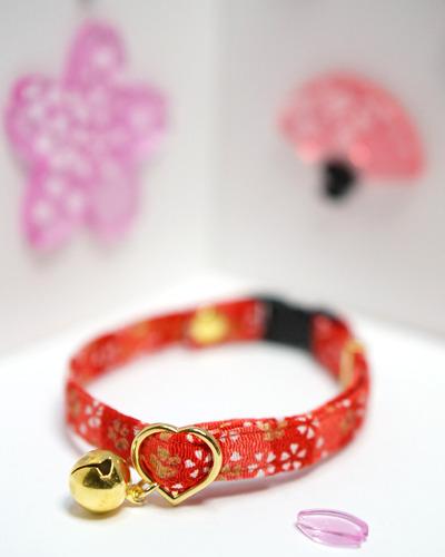 【猫用】江戸猫首輪(金欄赤に桜)
