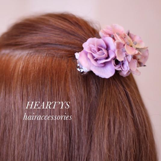 *ローズと紫陽花のぷっくりオーバルなバレッタ♪【送料無料】