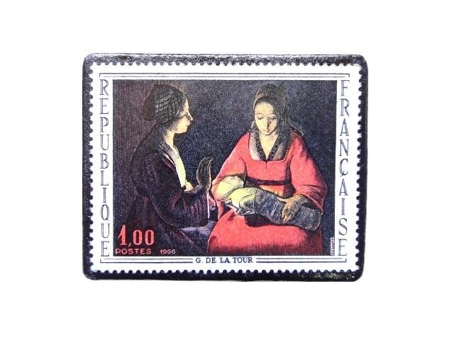 フランス1966年 切手ブローチ 260