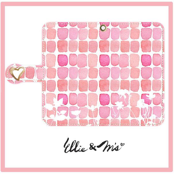 Pink ハートのミラー付きのAndroid Sサイズ ブック型ケース
