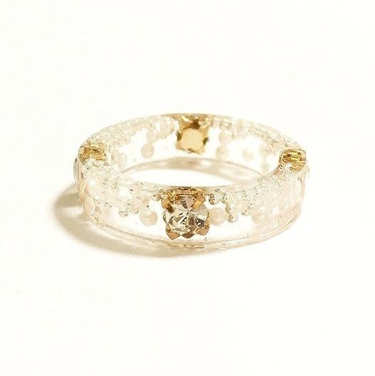 【送料無料】期間限定 再販!! Champagne Gold Crystal Ring(11号)