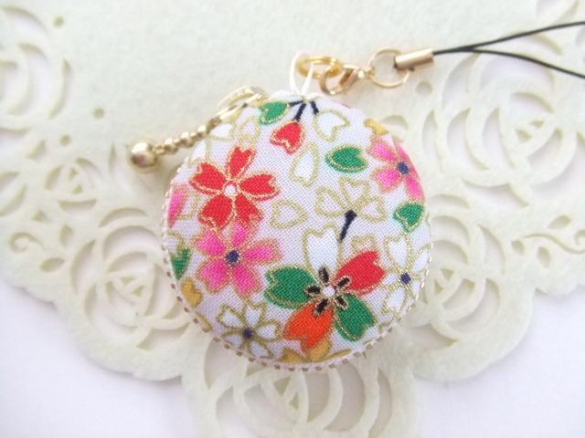 和柄・桜/オフ白系2/マカロンコインケース(マカロンポーチ)ストラップ付