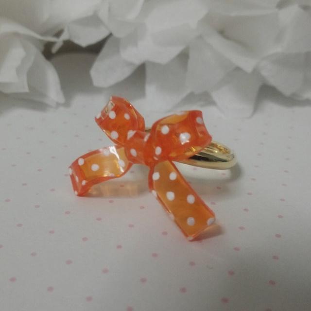 ミニリボンリング<水玉×オレンジ>