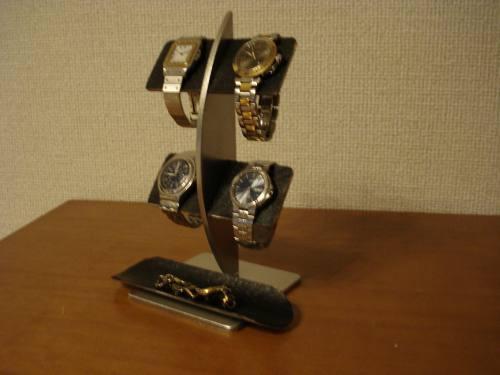 ブラックコルク4本掛け腕時計スタンド ロングトレイバージョン[