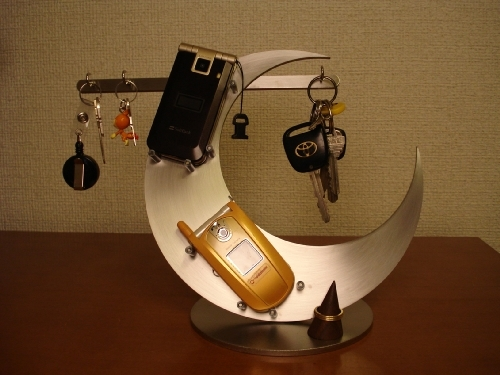 キースタンド 三日月携帯、キーホルダー、リング飾り台スタンド