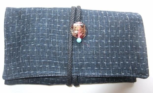 着物リメイク 麻の上布で作った和風財布 1525