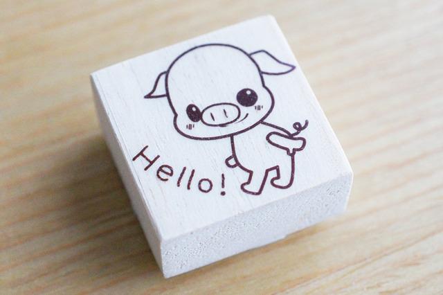 ★ミニブタ★「Hello!」はんこ