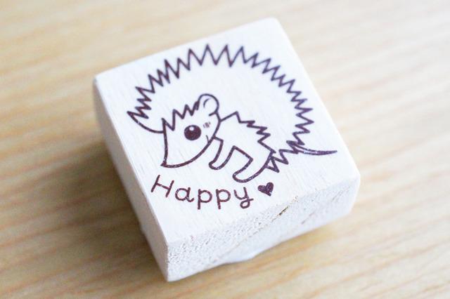 ★ハリネズミ★「Happy」はんこ