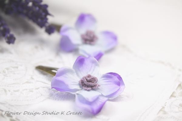 ラベンダー色の紫陽花のスリーピン  (2個セット)