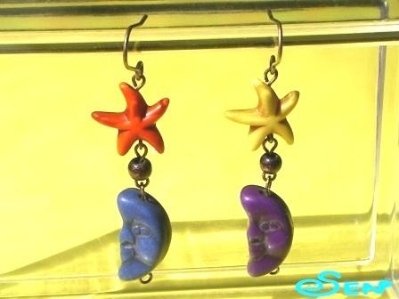 ヒトデと三日月のピアス(青・紫)