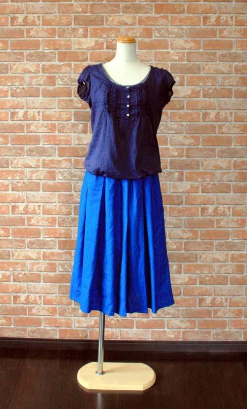 ヨーロッパリネン100% タックギャザースカート ブルー