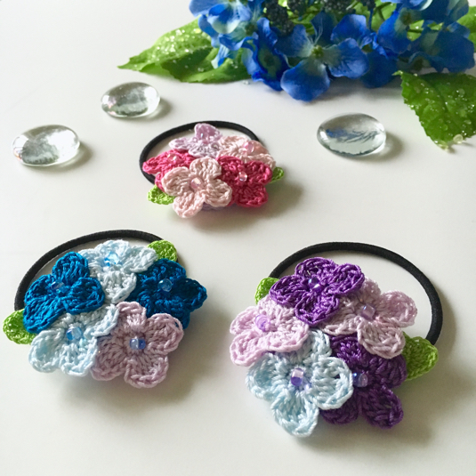 手編みで紫陽花のヘアゴム【再販】
