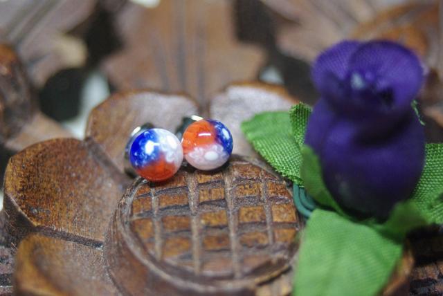 (T様ご注文品)トリコロール3色合わせ焼きミルフィオリのガラスピアス