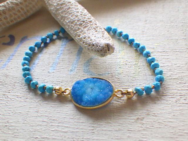 Ocean Druzy Turquse Bracelet 14kgf