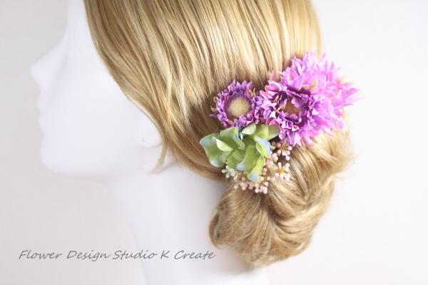 ガーベラと紫陽花のUピン(4本セット)