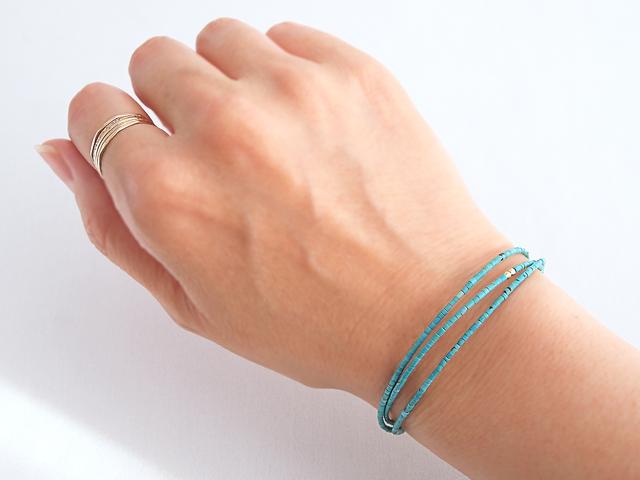 14KGF Turquoise Triple Bracelet