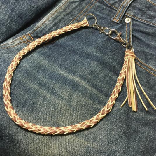 革紐編み込みウォレットロープ 6つ編み 茶 ユーズドルック