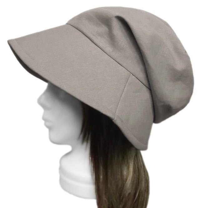 ハーフリネン/つば広女優帽子(ゆったり)◆グレージュ