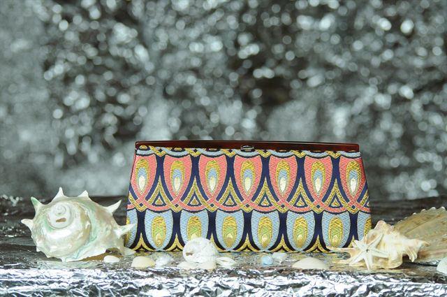 特別御仕立て 西陣織金襴 全正絹 羽重ね紋様 クラッチバッグ(受注生産となっております)