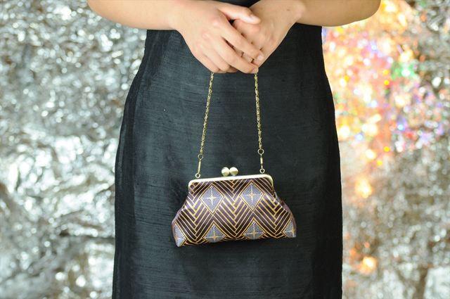 世界に一つ 西陣金襴正絹 菱繋ぎ紋様 がま口ハンドバッグ