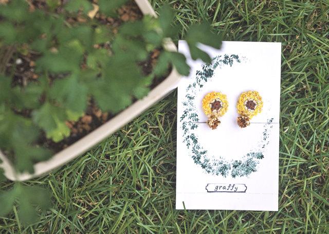 ◆ ひまわりのイヤリング color:2
