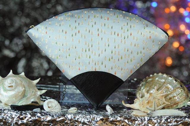 西陣織 金襴 扇形クラッチバッグ 滴白地 プロトタイプ
