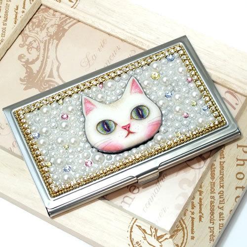 人気です*白猫とパールのカードケース*