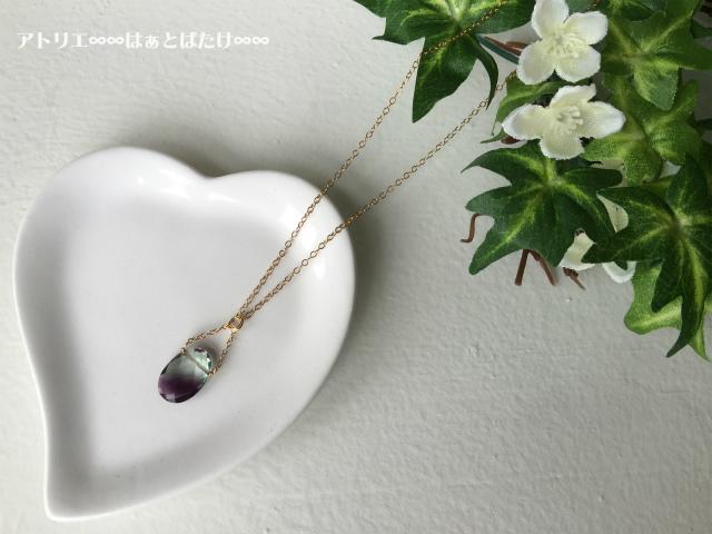 宝石質フローライトのネックレス|バイカラー|14kgf