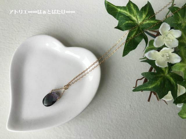 宝石質フローライトのネックレス|パープル|14kgf