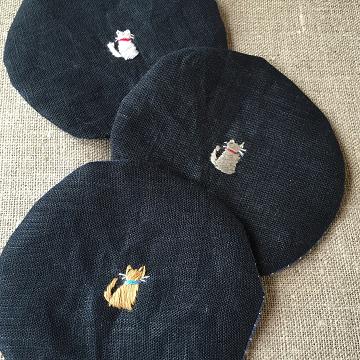 刺繍リネン・コースター『猫』