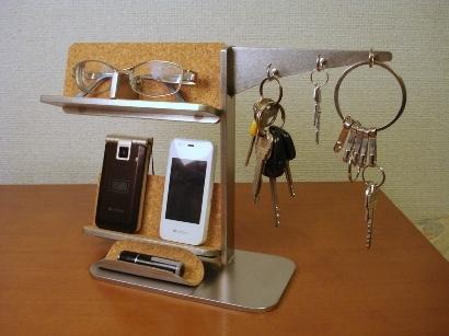 キー・メガネ・携帯電話スタンド 小物トレイ付き