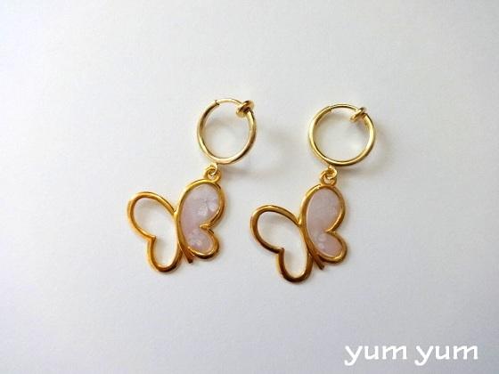 【再販】桜色蝶々イヤリング