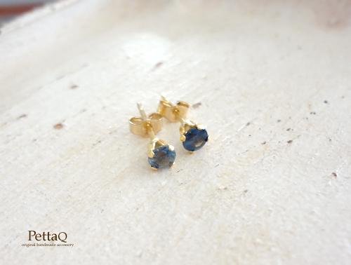 L様オーダー【14KGF】ブルーグリーンサファイアのスタッドピアス