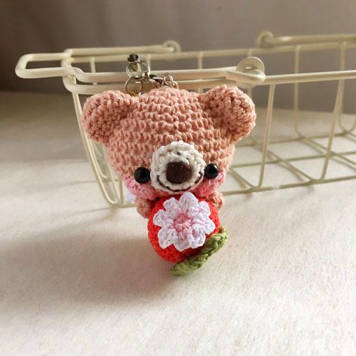 【受注生産】赤イチゴ・ピーチピンク色クマさん・鈴付きイヤホンジャックストラップ