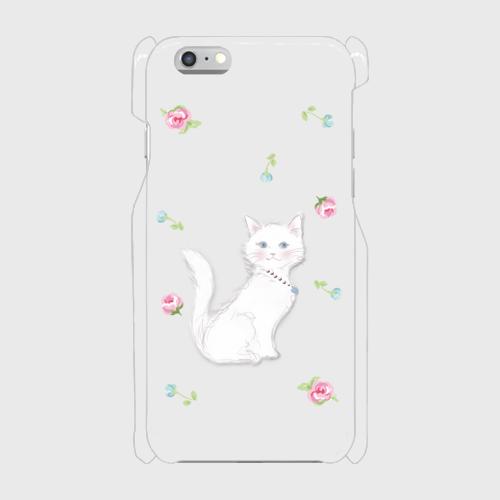 レディ白猫 表面のみ印刷  iPhone6/6s 透明ケース