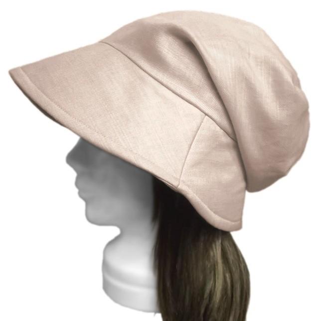 綿麻オーガニック/つば広女優帽子(ゆったり)◆淡ベージュ