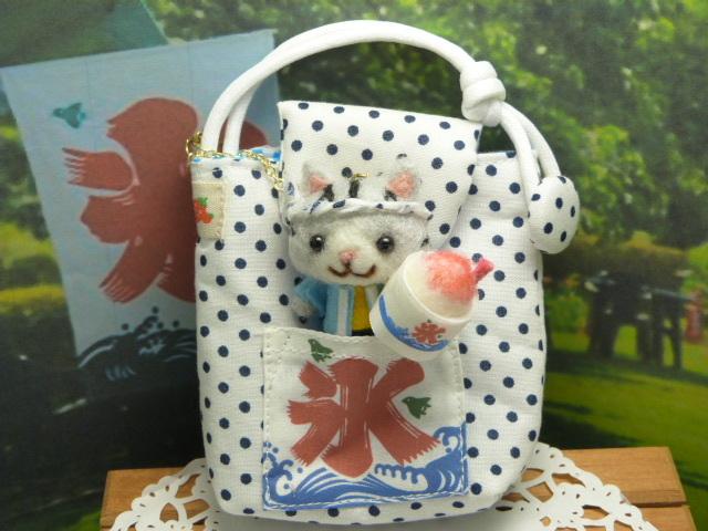 かき氷のミニポーチ★かき氷屋さんの猫