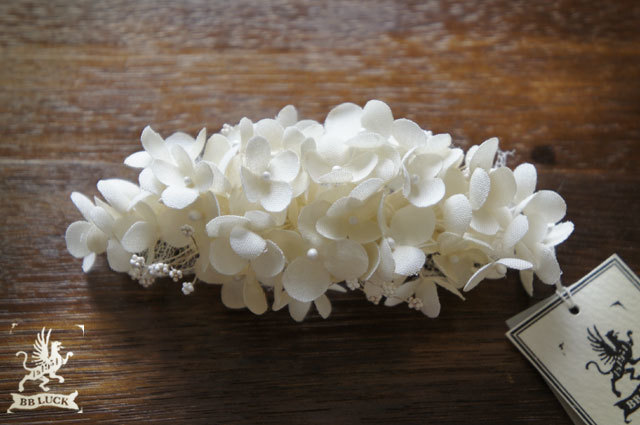 barrette  【 布花バレッタ * hydrangea & babies'-breath *off white 】