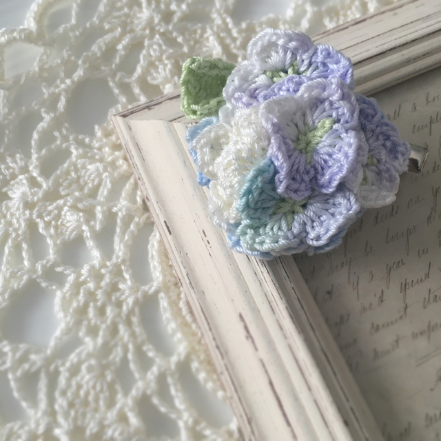 まぁるい紫陽花のクリップ&ブローチ