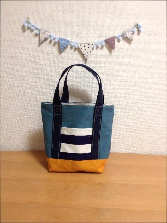 【再販】帆布バッグ◇クレイジーボーダー