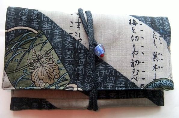 着物リメイク モスの長襦袢で作った和風財布 1549