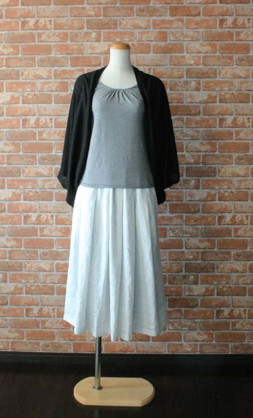 ヨーロッパリネン100% タックギャザースカート ホワイト