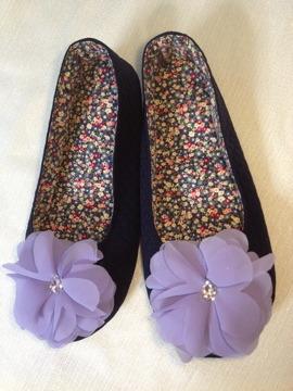 お花のルームシューズ(紫)