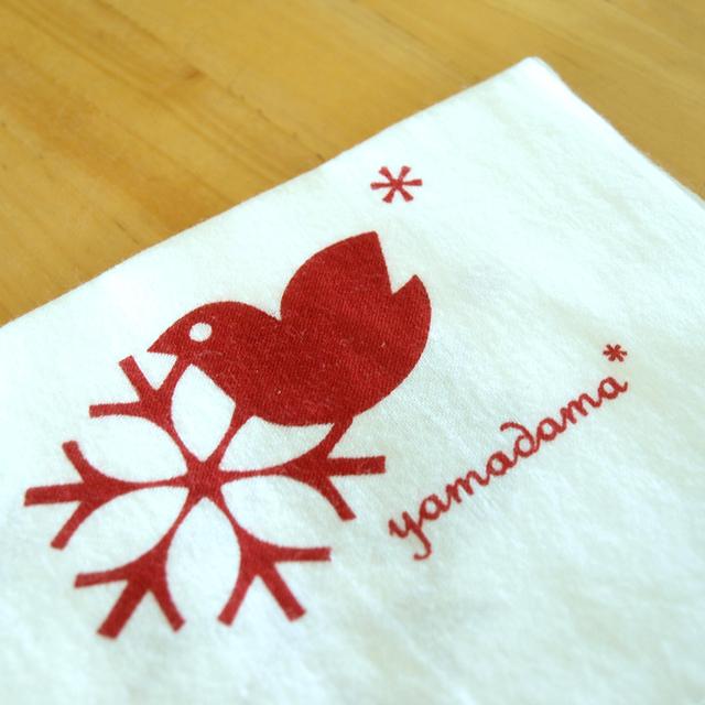 鳥柄の捺染てぬぐい yamadama *オリジナル