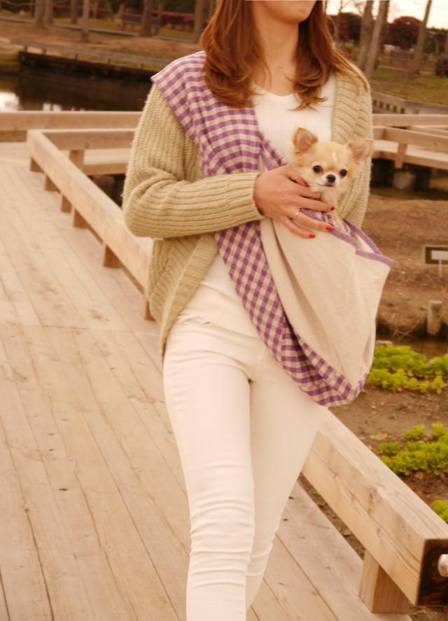 パープルチェック ペットスリング 犬猫 キャリーバッグ