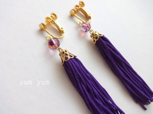 和タッセルイヤリング【紫】
